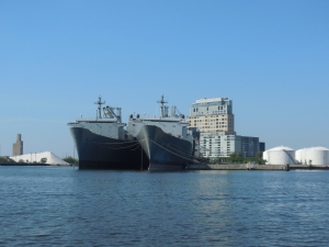 Big Navy ships in port