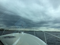 Entering the anchorage - stormy skies