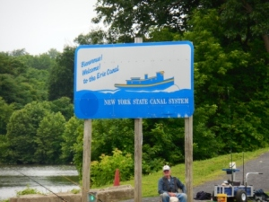 Welcome sign on southern shore