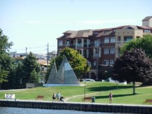 Sailboat sculpture and Riverwalk