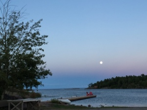 Moon rise over Killarney Harbor