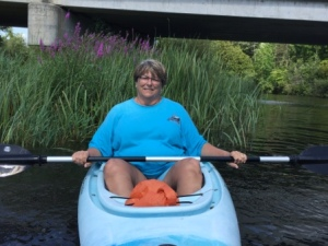 Claire in kayak