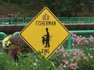 Sign near channel in yard