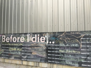 Chalk board in dowtown