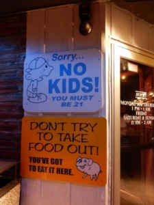 Signs at Fast Eddies
