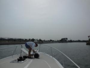Denise prepping for dockage