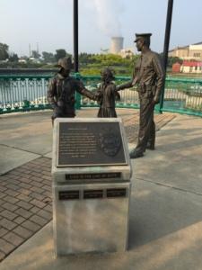 Sculptures near river park