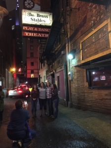 Mark taking girls picture - Printer's Alley