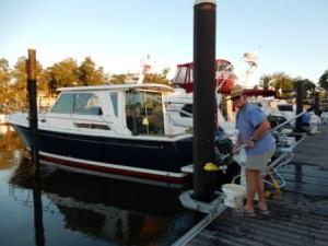 Mark cleaning salt off boat
