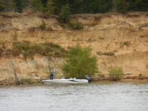 Typical bass fisherman on river
