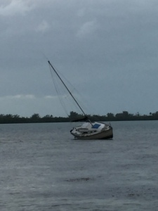 Sailboat on shoal