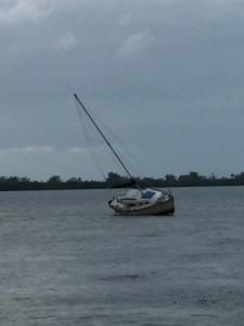 Sailboat on shoal