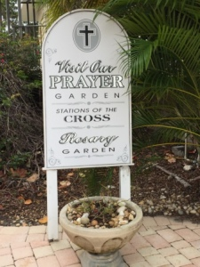 Sign for rosary garden at San Pablo