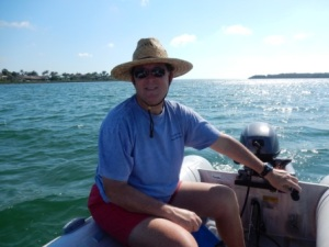 Mark driving the dinghy