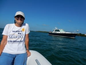 Enjoying the dinghy ride