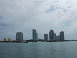 Miami Beach Skyline at port entrance