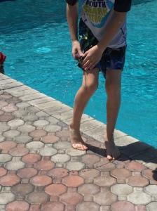 Daniel's shark squirting bathing suit