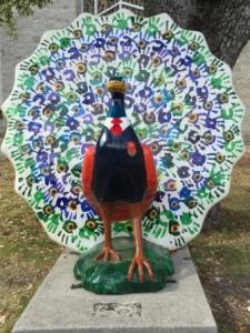 Coconut Grove peacock statue