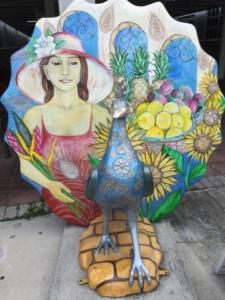 Peacock statue in Coconut Grove