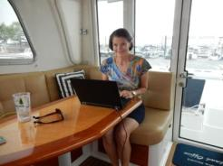 Denise at work on Island Office