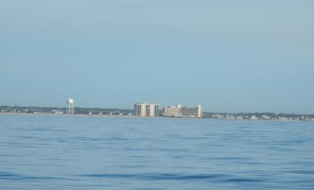 Leaving Masonboro Inlet - Wrightsville Beach shoreline
