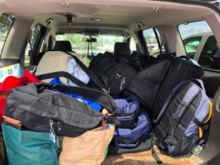 SUV packed with stuff
