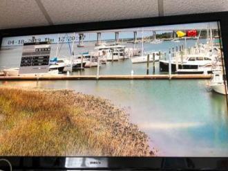 Dock monitor in marina office