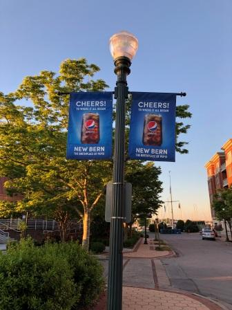 Pepsi flags throughout town