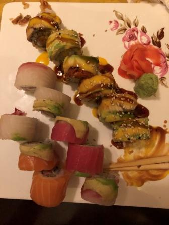 Dragon and Party roll sushi