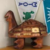 Hand carved turtle at MTOA headquarters