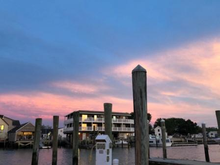 Sunset sky over marina
