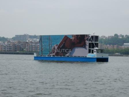 Floating advertising on the Hudson River