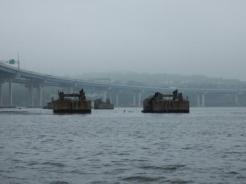 Remnants of the old Tappan Zee Bridge
