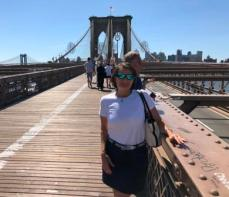 Denise on the Brooklyn Bridge