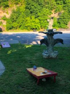 Corn hole and sculpture at SHM