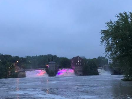 Lighted falls at dusk