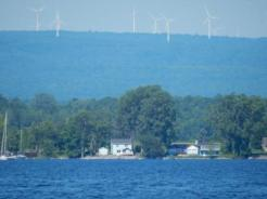 Windmill farm on NY shore
