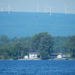 Windmill farm on NY shore