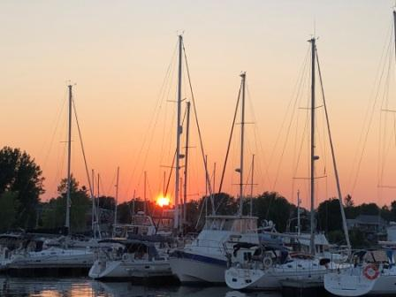 Sunset over Gaines Marina