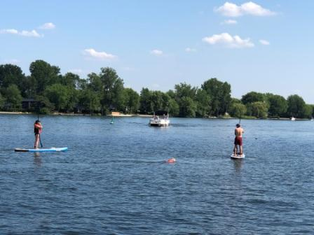 Paddleboarders enjoying the afternoon