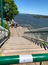 Halfway up steps