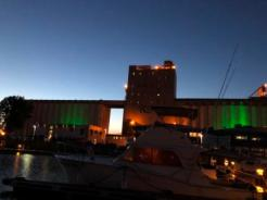 Lights on silo at night