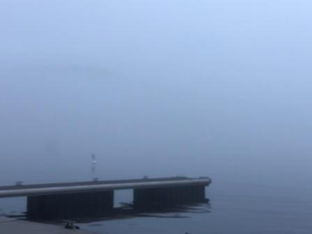 Really foggy now - end of dock