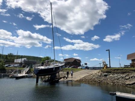 Splashing sailboat