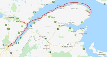 QC to Gaspe with stop pointsc