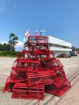 Lobster trap sculpture in town