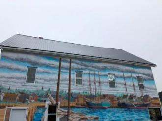 Building mural near wharf