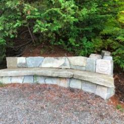 Granite bench on running trail
