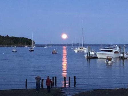 Harvest moon over Belfast Harbor