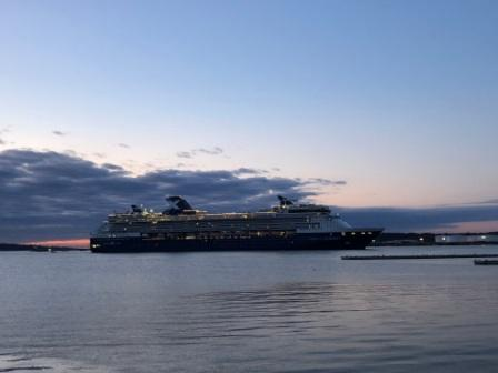 Incoming cruise ship at dawn